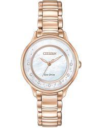 Citizen - Women's Diamond Circle Of Time Eco-drive Rose Gold Bracelet Watch - 0.008 Ctw - Lyst