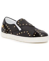 Moschino - Studded Leather Slip On Sneaker - Lyst