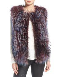 Tasha Tarno - 'stripe' Genuine Silver Fox Fur With Leather Trim - Lyst