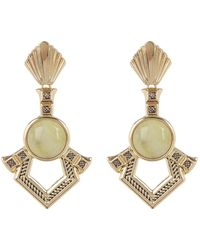 House of Harlow 1960 Patolli Bezel Set Yellow Turquoise Cabochon Geo Drop Earrings