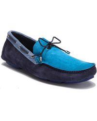 Bugatchi Colorblock Suede Moccasin - Blue