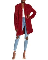 Lush Open Front Long Cardigan - Red