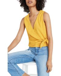 Madewell Sleeveless Wrap Tie Shirt - Multicolor
