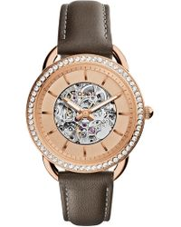 Fossil - Women's Tailor Crystal Leather Strap Watch, 35mm - Lyst