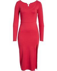 Leith Long Sleeve Side Slit Midi Dress - Red