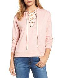 Caslon - Caslon Lace-up Sweatshirt - Lyst