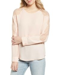 Chelsea28 Lace Inset Blouse - Pink