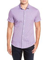 Stone Rose Regular Fit Geometric Print Knit Sport Shirt - Pink