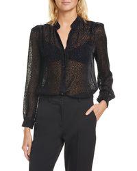 L'Agence Ryan Silk Blend Polka Dot Sheer Blouse - Black