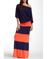 Go Couture Off-the-shoulder Striped Maxi Dress - Blue