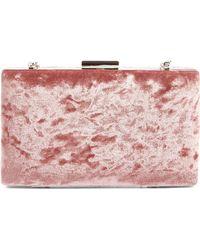 Glint Crushed Velvet Minaudiere - Pink