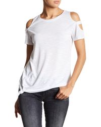 Sweet Romeo Cold Shoulder Cage Sleeve Front Tie Tee - White