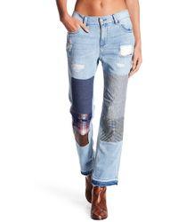 BCBGMAXAZRIA Contrast Patched Cropped Boyfriend Jeans - Blue