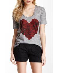 Go Couture V-neck Printed T-shirt - Gray