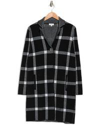 Kinross Cashmere 100% Super Soft Cotton Knit Plaid Notch Collar Cardigan - Black