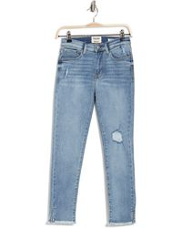 Kensie High Rise Frayed Hem Jeans - Blue