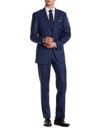 Hart Schaffner Marx - Dark Blue Two Button Notch Lapel Wool New York Fit Suit - Lyst