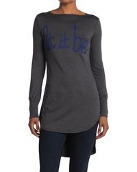 Go Couture Graphic Boatneck Top - Gray