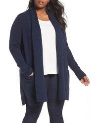 Sejour Pocket Wool Blend Cardigan (plus Size) - Blue