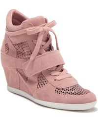 Ash Bowie Suede Perforated Wedge Sneaker - Pink