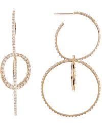 Lana Jewelry 14k Gold 3-link Pave Diamond Bond Hoop Earrings - 4.08 Ctw - Yellow