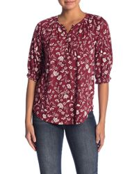 Lucky Brand - Floral Henley 3/4 Sleeve Blouse - Lyst