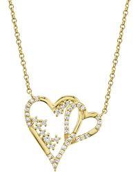 Ron Hami 14k Yellow Gold Diamond Interlocking Heart Pendant Necklace - 0.17 Ctw - Metallic
