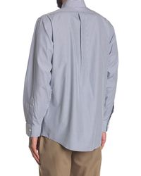 Brooks Brothers Pinstripe Print Long Sleeve Regent Fit Shirt - Blue