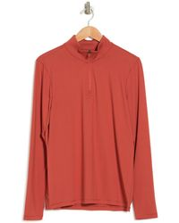 90 Degrees Half Zip Long Sleeve Pullover - Red