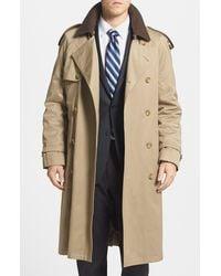 Hart Schaffner Marx Barrington Classic Fit Cotton Blend Trench Coat - Natural