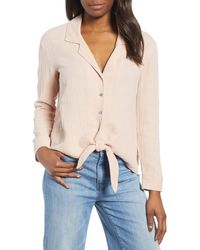 1.STATE Button-up Tie Front Top - Multicolor