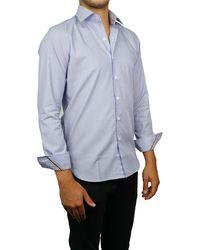 Zanella Pinstripe Print Long Sleeve Tailored Fit Shirt - Blue
