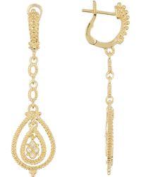 Judith Ripka - Gold Vermeil La Petite White Topaz Drop Earrings - Lyst
