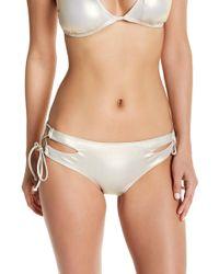 The Bikini Lab Hot Shine Tie Side Bikini Bottoms - Metallic