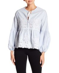 Cece by Cynthia Steffe - Embroidered Balloon Sleeve Blouse - Lyst