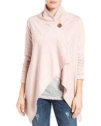 Bobeau One-button Fleece Wrap Cardigan - Pink