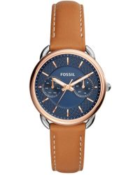 Fossil - Women's Tailor Multifunction Leather Strap Watch - Lyst
