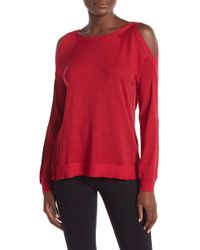 Vince Camuto - Metallic Cold Shoulder Sweater - Lyst