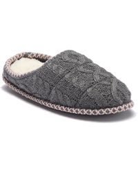 Dearfoams - Quilted Cable Knit Clog Slipper - Lyst