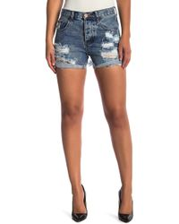 One Teaspoon - Bleu Creme Chargers Disressed Shorts - Lyst