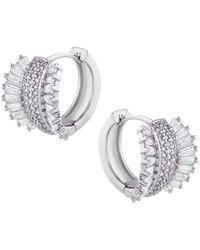 CZ by Kenneth Jay Lane - Baguette Pave Cz Fan Earrings In Clear-silver At Nordstrom Rack - Lyst