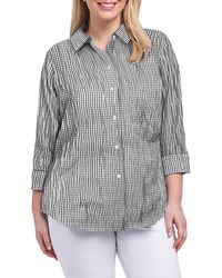 Foxcroft Sue Crinkle Mixed Gingham Shirt - Multicolor
