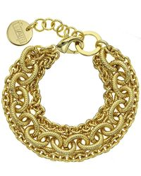1AR By Unoaerre - Three Strand Corrugated Oval Link Bracelet - Lyst