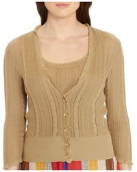 Lauren by Ralph Lauren - Cable & Pointelle V-neck Cardigan (plus) - Lyst
