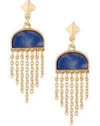 Jardin Pyramid Stud Semi Precious Half Circle Sodalite Stone Chain Tassel Drop Earrings - Blue