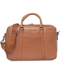 Shinola Leather Signature Slim Leather Briefcase - Brown