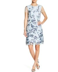 Donna Ricco - Cap Sleeve Embroidered Mesh Dress - Lyst