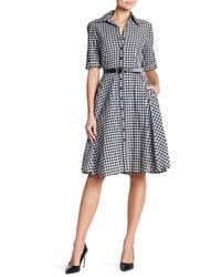 Sharagano | Gingham Print 3/4 Length Sleeve Waist Belt Dress | Lyst