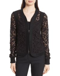 Tracy Reese Lace Zip Cardigan - Black