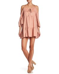 Blu Pepper - Cold Shoulder Polka Dot Print Dress - Lyst